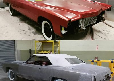 '74 El Dorado before & after plastic media blasting