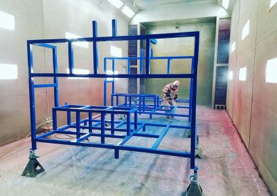 Frame assemblies in the paint booth