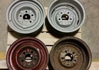 Steel wheels before & after blasting