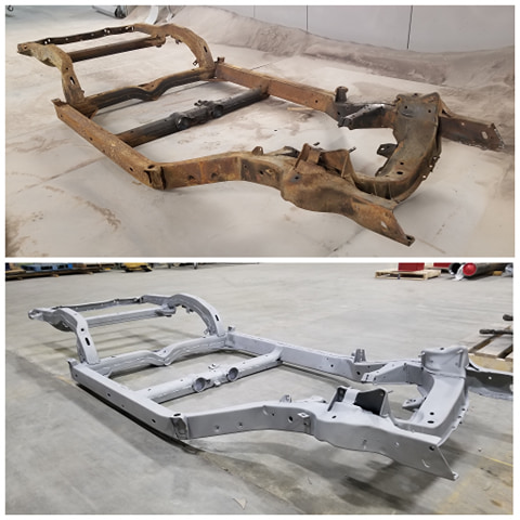Corvette Chassis before & after blasting