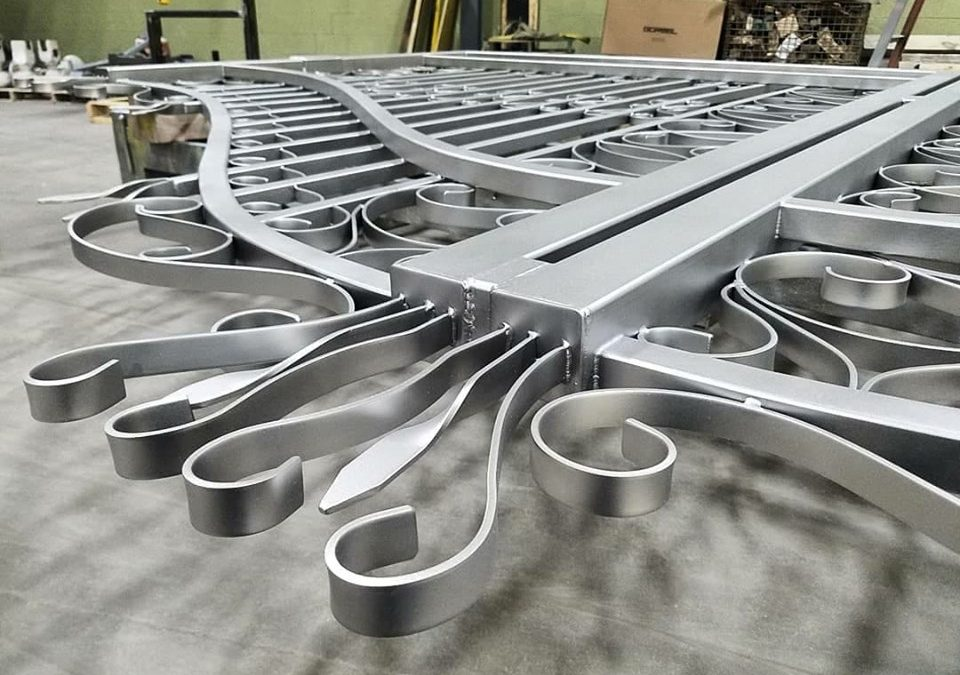 Stainless Steel Gate Glass Bead Finish close up