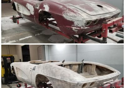 '61 Corvette plastic media blasted