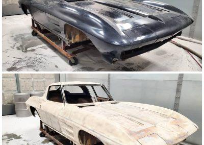 '63 Corvette split window plastic media blasted